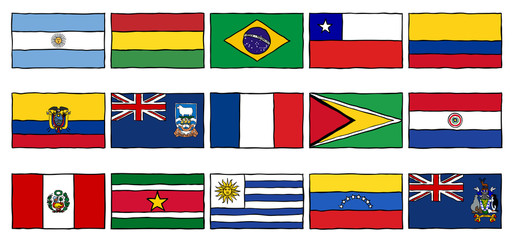 Hand Drawn Flags South America