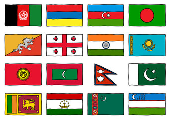 Hand Drawn Flags West South Asia
