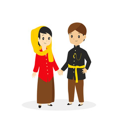 Jakarta - Betawi couple wearing traditional dress, cartoon vector illustration