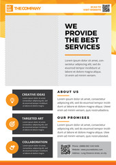 Brochure Template Design, Flyer Background, Booklet, Annual Report Cover, Layout Magazine, Poster, Corporate Profile, Presentation, Portfolio, with orange Geometric in A4 size Vector Illustration 4