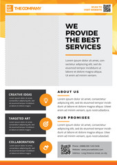 Brochure Template Design, Flyer Background, Booklet, Annual Report Cover, Layout Magazine, Poster, Corporate Profile, Presentation, Portfolio, with orange Geometric in A4 size Vector Illustration 3