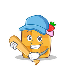 Playing baseball waffle character cartoon design