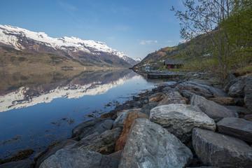 View of Sørfjord, Branch of Hardengerfjord, Hordaland, Norway
