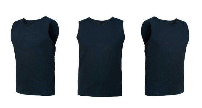 dark blue sleeveless T-shirt. t-shirt front view three positions on a white background