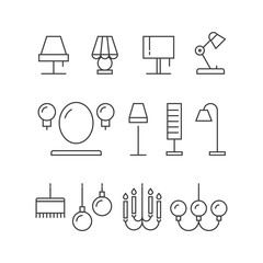 Lighting icons collection - lamps, floor lamps