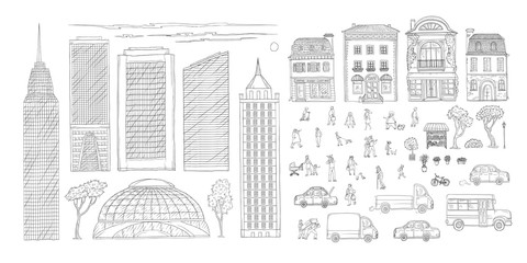 Vector set sketch contour doodle illustration urban street in the historic European city, truck and cars. Kit of outdoor plants and flowers, children and adult characters, skyscrapers in the megacity.