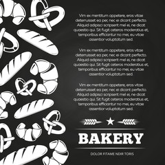 Blackboard poster with bread and croissant - bakery chalkboard background design