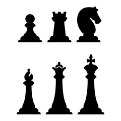 Black chess figures silhouettes isolated on white