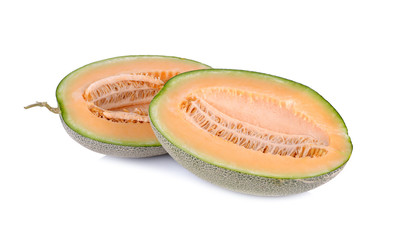 half cut ripe melon with stem on white background