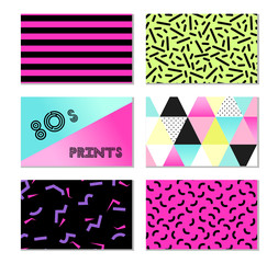 Cute set of 80s and 90s style trendy cards design