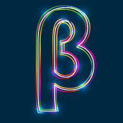 Greek Small Letter Beta - Vector multicolored outline font with glowing effect isolated on blue background. EPS10