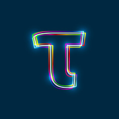 Greek Small Letter Tau - Vector multicolored outline font with glowing effect isolated on blue background. EPS10