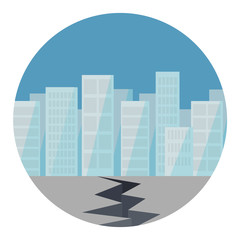 Erdbeben in der Stadt Flat Design Vektor Grafik Illustration Icon