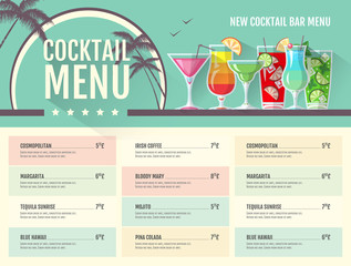 Flat style cocktail menu design