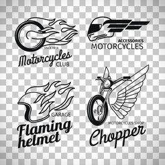 Motorcycle race logo on transparent background