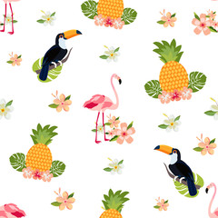 Seamless tropical pattern with flamingos, pineapples and toucan