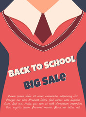 Back to school sale poster with text and school uniform
