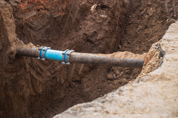 underground pipe connector. maintenance and repair gas and water pipe leak.
