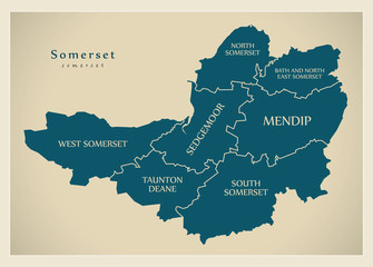 Modern Map - Somerset county with district captions England UK illustration