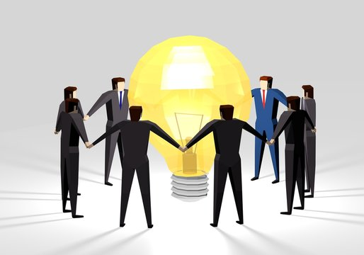 Business people with light bulb in circle shiny