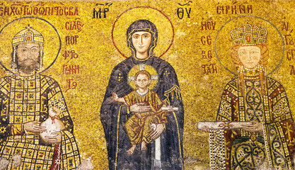 Mother of God holding child Jesus Christ, Comnenus antique mosaic at Hagia Sophia, Istanbul