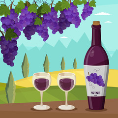 Wine and grapes winemaking vector set illustration