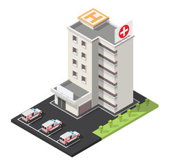 Vector isometric illustration city medical center hospital facades landscape.
