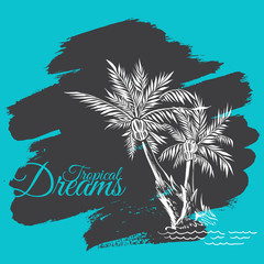 Composition of Two Hand drawn Palm Trees on Cyan Grunge Background