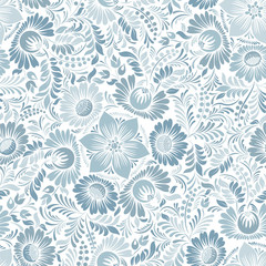 Seamless background with floral patterns. Summer ornament. Vintage Pattern. Elements of flowers and leaves. Vector illustration. Used for wallpaper, printing on the packaging paper, textiles.