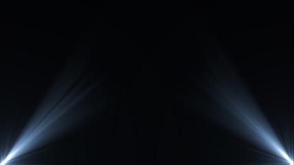 Foto op Textielframe Licht, schaduw Stage lights. Several projectors in the dark. Purple spotlight strike through the darkness