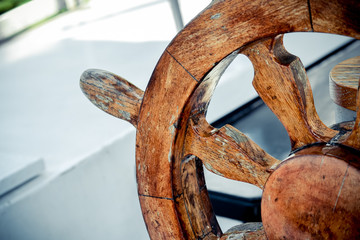 Steering wheel Handwheel ship close up