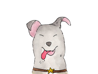 Cute dog isolated on white background - watercolor illustration