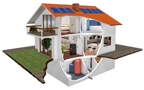 Haus 3D Querschnitt