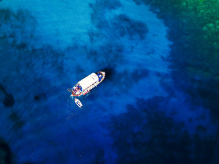 Top view of boats on beautiful sea.