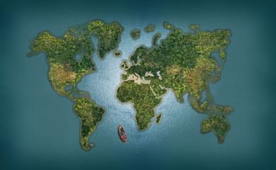 World Map abstract background with forest and sea