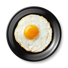 fried egg on black plate
