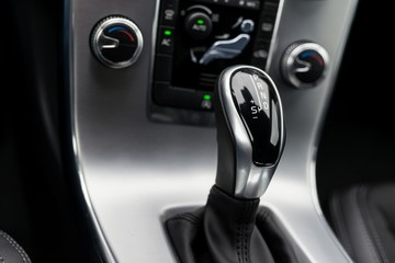 Close-up on automatic transmission lever