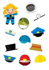 cartoon matching game with finding proper hats to occupation - doctor girl - illustration for children