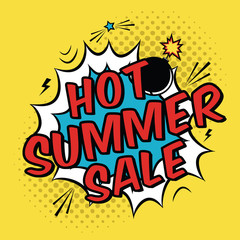 Vector colorful pop art illustration with Hot Summer Sale discount promotion. Decorative template with halftone background and bomb explosion in modern comics style.