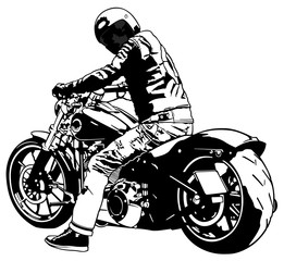 Bike and Rider - Black and White Illustration, Vector