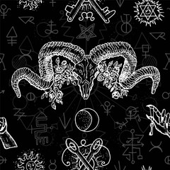 Black and white seamless background with mystic, alchemical and freemason symbols and devils head with horns. Occult and esoteric vector illustration