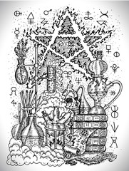 Black and white drawing with alchemical symbols, skull, pentagram and laboratory equipment. Occult and esoteric vector illustration