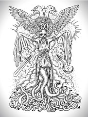 Black and white drawing with evil goddess or female demon with tentacles, skull and mystic spiritual symbols. Occult and esoteric vector illustration