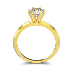 3D illustration isolated yellow gold classic ring with diamonds with shadow