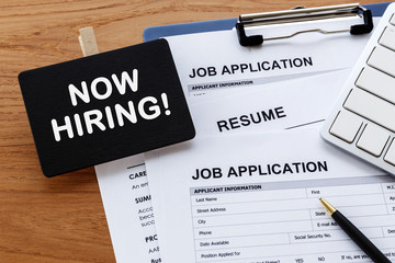 Hiring concept with now hiring sign