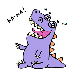 Cute purple dragon funny laughs. Vector illustration.