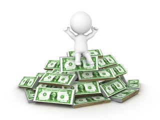 3D Character sitting on top of a pile of cash