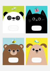 Baby panda, cat, dog, bear kitty head kitten. Notebook cover Composition book template set. Butterfly, dragonfly, bee mosquito insect Cute cartoon character. Flat design. Colorful background.