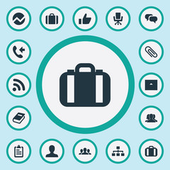 Vector Illustration Set Of Simple Career Icons. Elements Connection, Signal, Good And Other Synonyms Document, Book And Vacancy.
