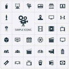 Vector Illustration Set Of Simple Cinema Icons. Elements Premiere, Spectator, Negative And Other Synonyms Presenter, Building And Rope.